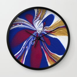 Floral Fluidity - Abstract, acrylic, fluid, painting Wall Clock