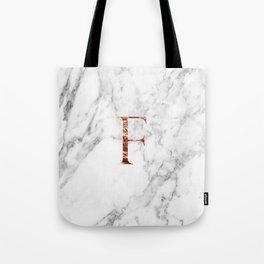 Monogram rose gold marble F Tote Bag