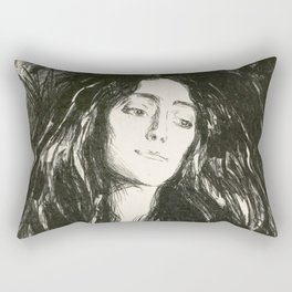 "Edvard Munch ""The Brooch. Eva Mudocci"", 1903 Rectangular Pillow"
