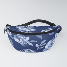 Hand painted navy blue white watercolor floral roses pattern Fanny Pack