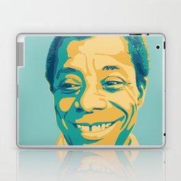 James Baldwin Portrait Teal Gold Blue Laptop & iPad Skin