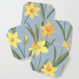 Spring Daffodils Floral Pattern Coaster