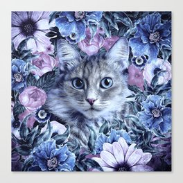Cat In Flowers. Winter Canvas Print