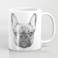 frenchie Mugs featuring Frenchie by Victoria Novak