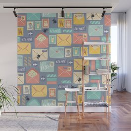 Retro styled pattern with letters and postcards Wall Mural