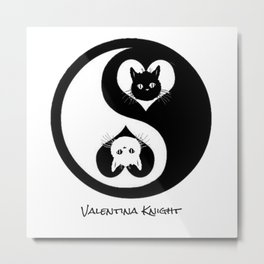 Ying Yang Kitty Valentines Day Balance Purfection :) Metal Print