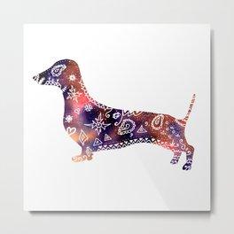 Dachshund Mandala watercolor art Metal Print