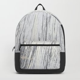 Scratched White Plaster and Charcoal Grey Lined Pattern Backpack