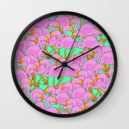 Flaming Flamingos Wall Clock