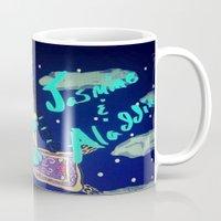 aladdin Mugs featuring Jasmine & Aladdin  by NayomiArt