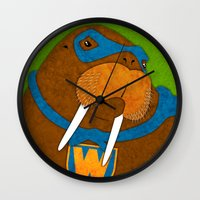 walrus Wall Clocks featuring Walrus by subpatch