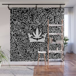 Uptown Growlab Gold Cannabis Crown and Script Wordmark Wall Mural