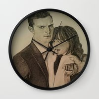 allyson johnson Wall Clocks featuring JAMIE DORNAN - DAKOTA JOHNSON by Virginieferreux