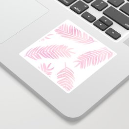 Pink Palm Leaves  |  White Background Sticker