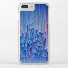 Glitchy Rain - Abstract Digital Piece Clear iPhone Case