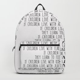 Children Learn What They Live  #minimalism Backpack