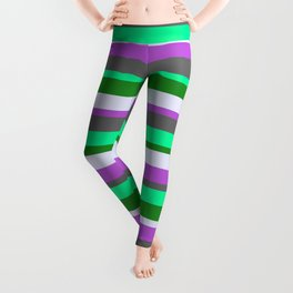 Eyecatching Lavender, Orchid, Dim Gray, Green & Forest Green Lines/Stripes Pattern Leggings