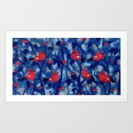 Bullfinches, birds in the trees, fiber art, wool painting Art Print