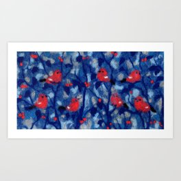 Bullfinches, Winter Forest Birds Red Berries Wool Painting Art Print