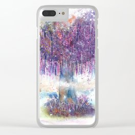 Mystical Tree Illustration Clear iPhone Case