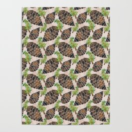 Watercolor Pine Cone Pattern Poster