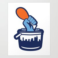Chicken Bucket City Art Print