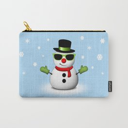 Cool Snowman with Shades and Adorable Smirk Carry-All Pouch