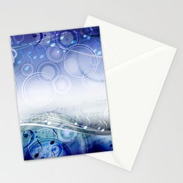 Abstract sheet music design background with musical notes Stationery Cards