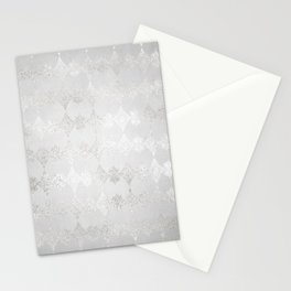 Metallic Silver Geometric Stationery Cards