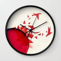 origami Wall Clocks featuring Origami by Sumalab