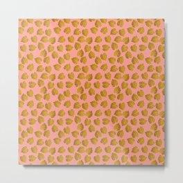 Gold Metallic Foil Monstera Leaves on Peachy Pink Metal Print