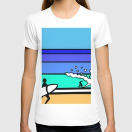 Fall Session - surfer girl riding a wave on her own T-shirt