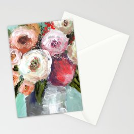 Peach and White Roses Stationery Cards
