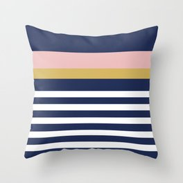 Graduated Stripes in Navy Blue, Blush Pink, Mustard Yellow, and White. Minimalist Color Block Design Throw Pillow