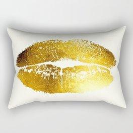 Lips Gold Rectangular Pillow