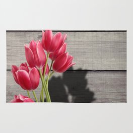Pink Tulips & Shadow Wooden Background Rug