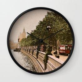 Vintage The Embankment, River Thames, London Wall Clock
