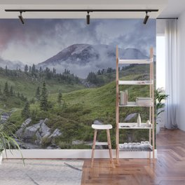 Mount Rainier and Edith Creek at Sunset Wall Mural