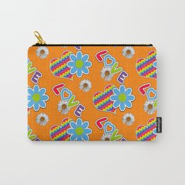 Hippie Heart Rainbow Print in Orange Carry-All Pouch