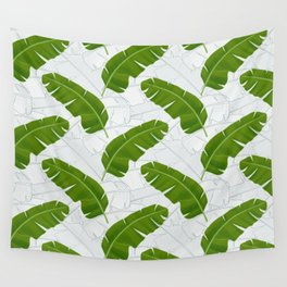 Banana Leaves_ Bg White Wall Tapestry