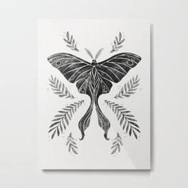 Watercolor Luna Moth in Black and White Metal Print