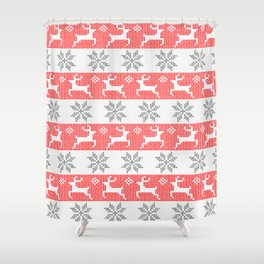 Watercolor Fair Isle in Red & Grey Shower Curtain