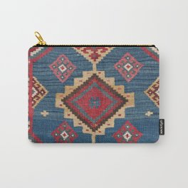Vintage Woven Kilim II // 19th Century Colorful Royal Blue Yellow Authentic Classic Ornate Accent Pa Carry-All Pouch