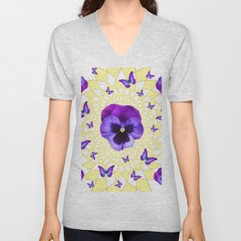 PURPLE BUTTERFLIES & PANSIES GEOMETRIC PATTERN Unisex V-Neck