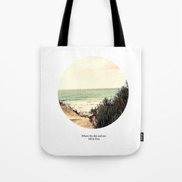 Where the sky and sea fall in love Tote Bag