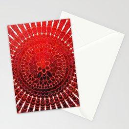 Red Flower Mandala Stationery Cards