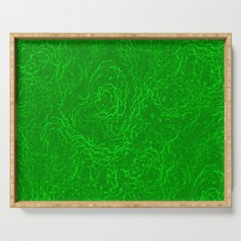 Neon Green Alien DNA Plasma Swirl Serving Tray