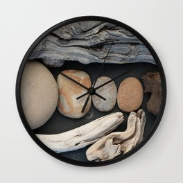 Driftwood And Stones  Wall Clock