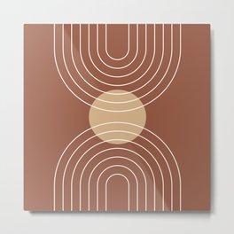 Mid Century Modern Geometric 6 (Terrocatta and beige) Metal Print