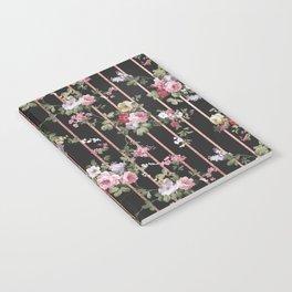 Elegant faux rose gold black stripes vintage blush pink lavender floral Notebook